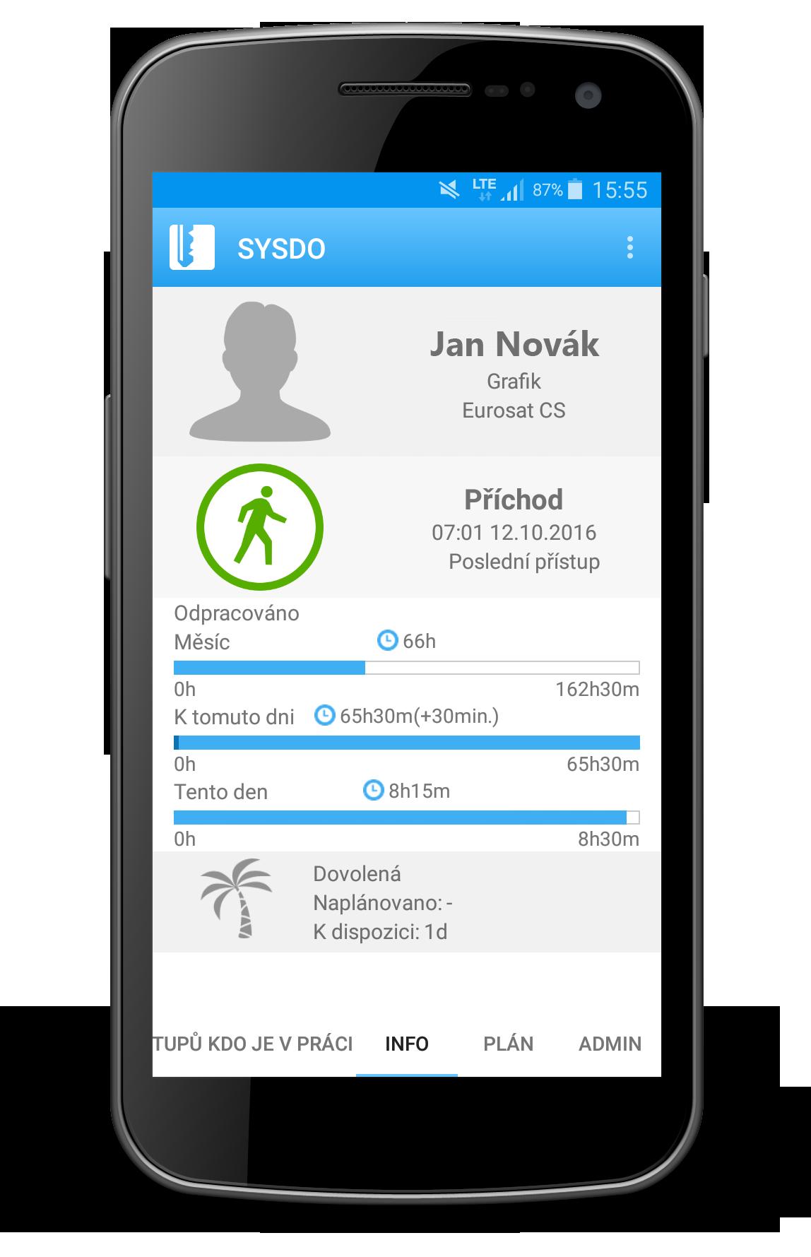 Náhled mobilní aplikace - informace o uživateli