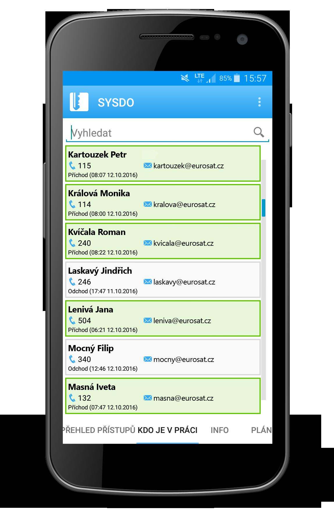 Náhled mobilní aplikace - přehled přítomnosti