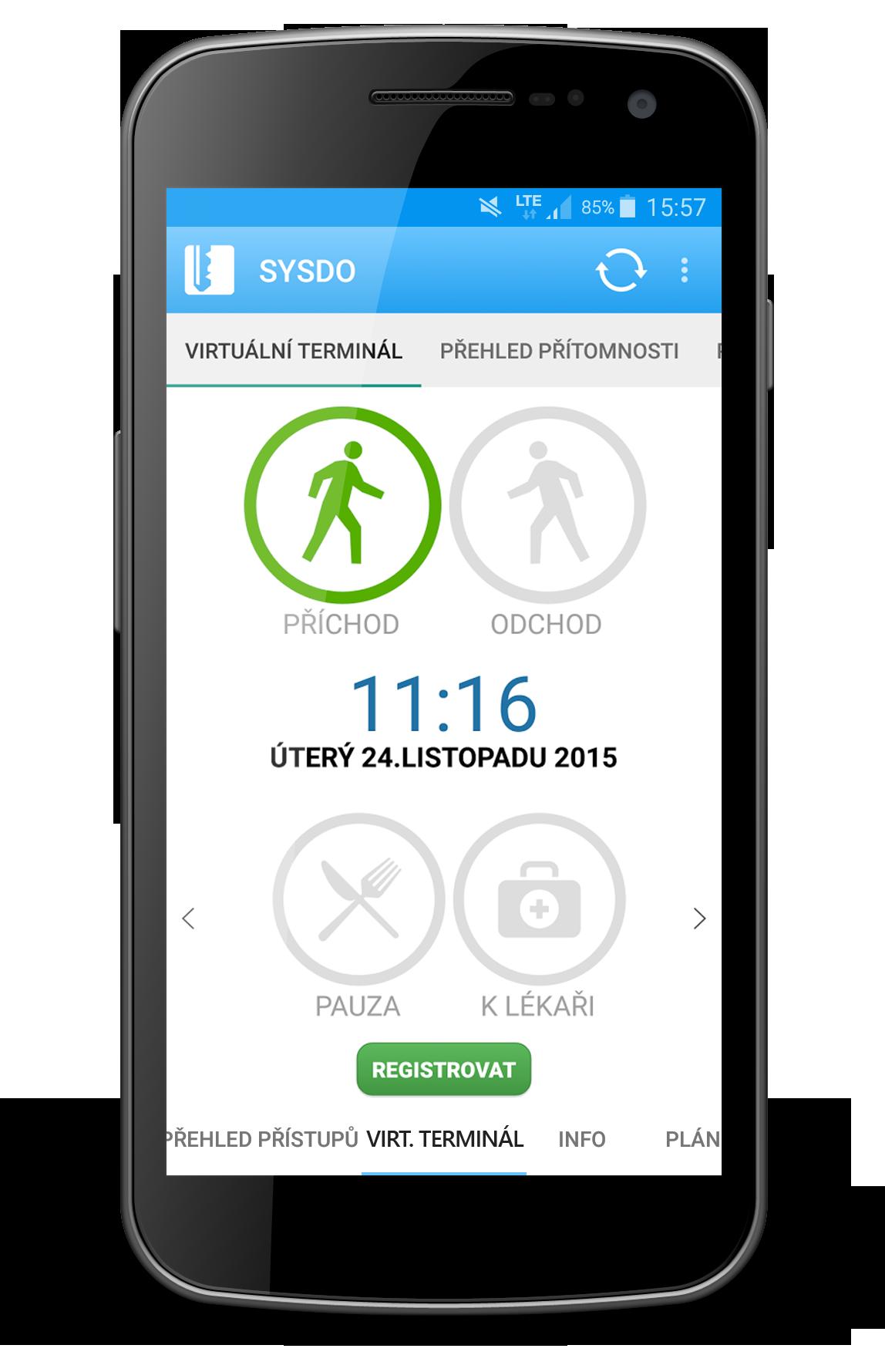 Náhled mobilní aplikace - virtuální terminál