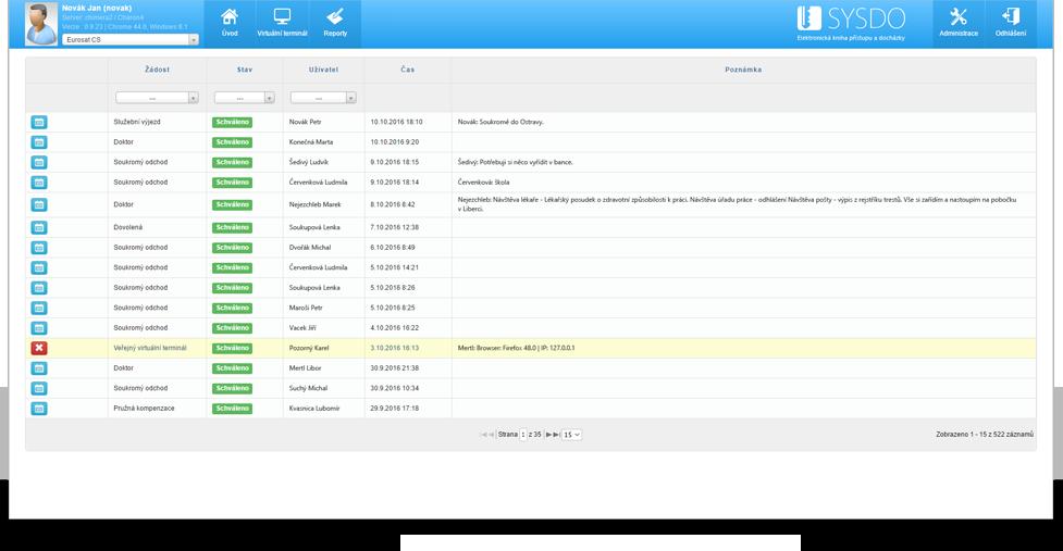 Ukázka aplikace - žádosti